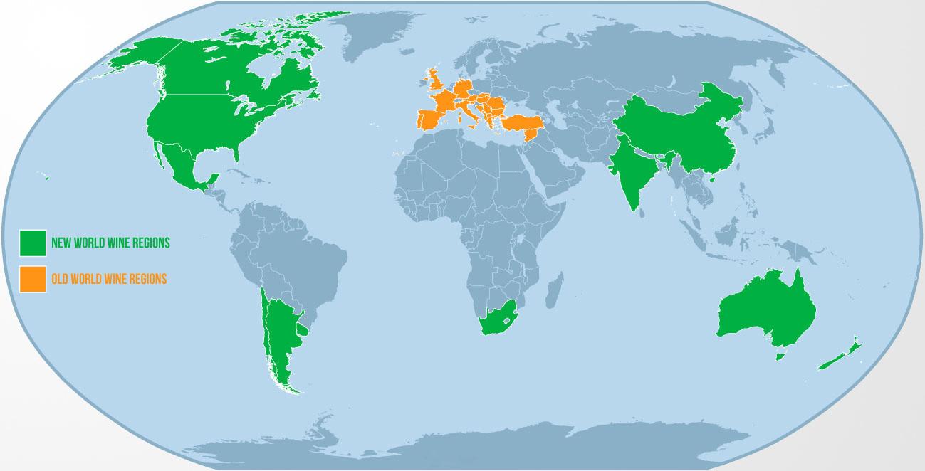 Bản đồ các vùng rượu vang Thế giới cũ và Thế giới mới.