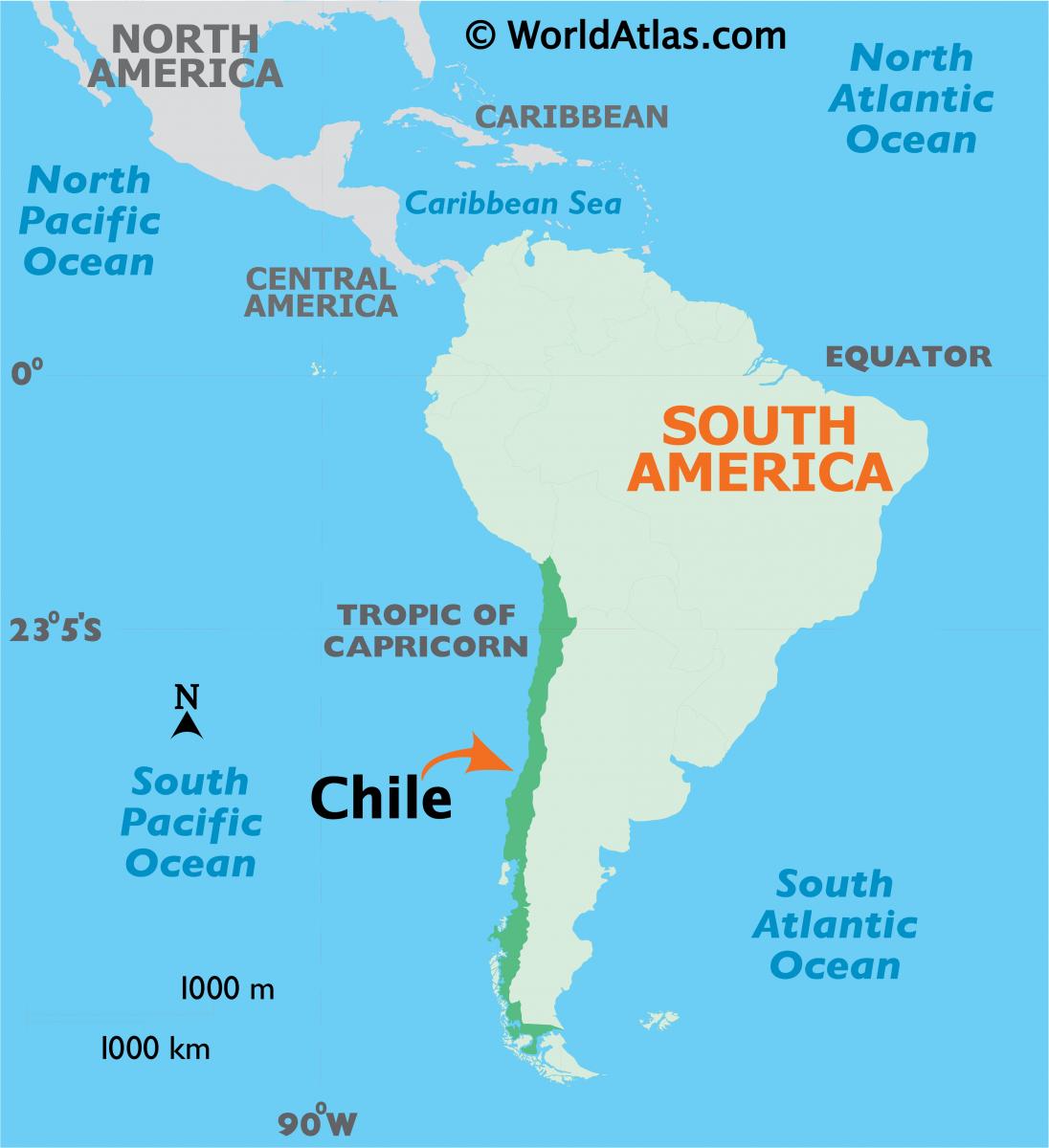 Chile nằm trên bờ biển phía tây của Nam Mỹ