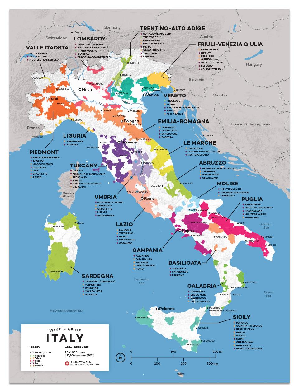 Khám phá bản đồ các vùng rượu vang Ý